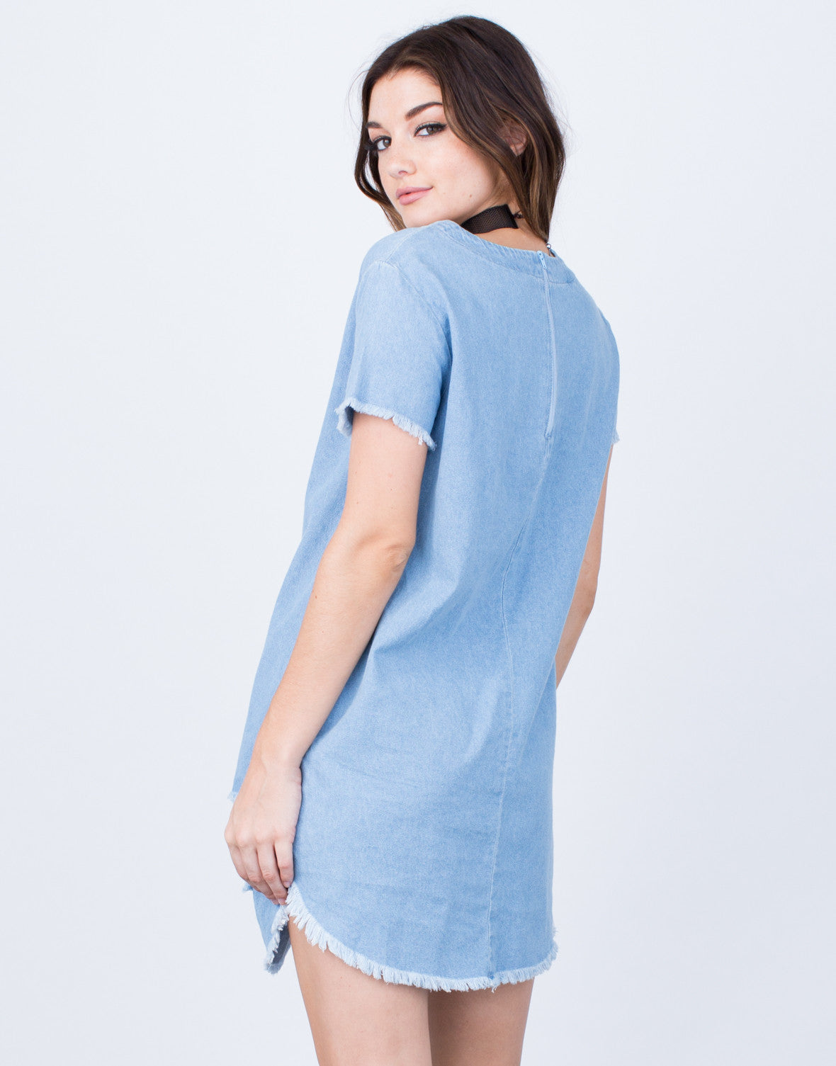 Back View of Destroyed Denim Dress