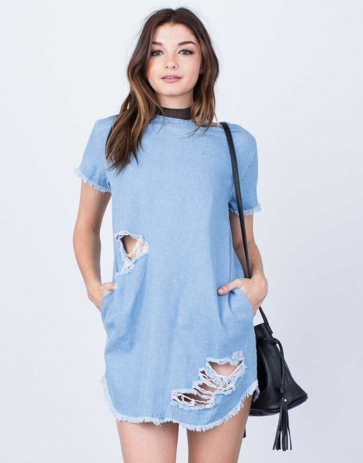 Front View of Destroyed Denim Dress