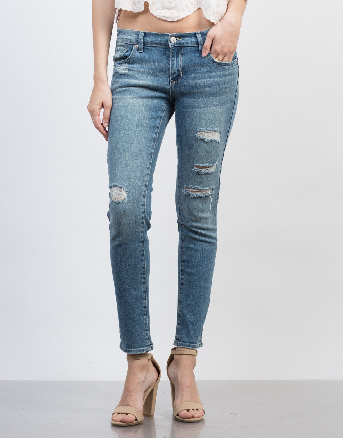 Front View of Destroyed Denim Jeans