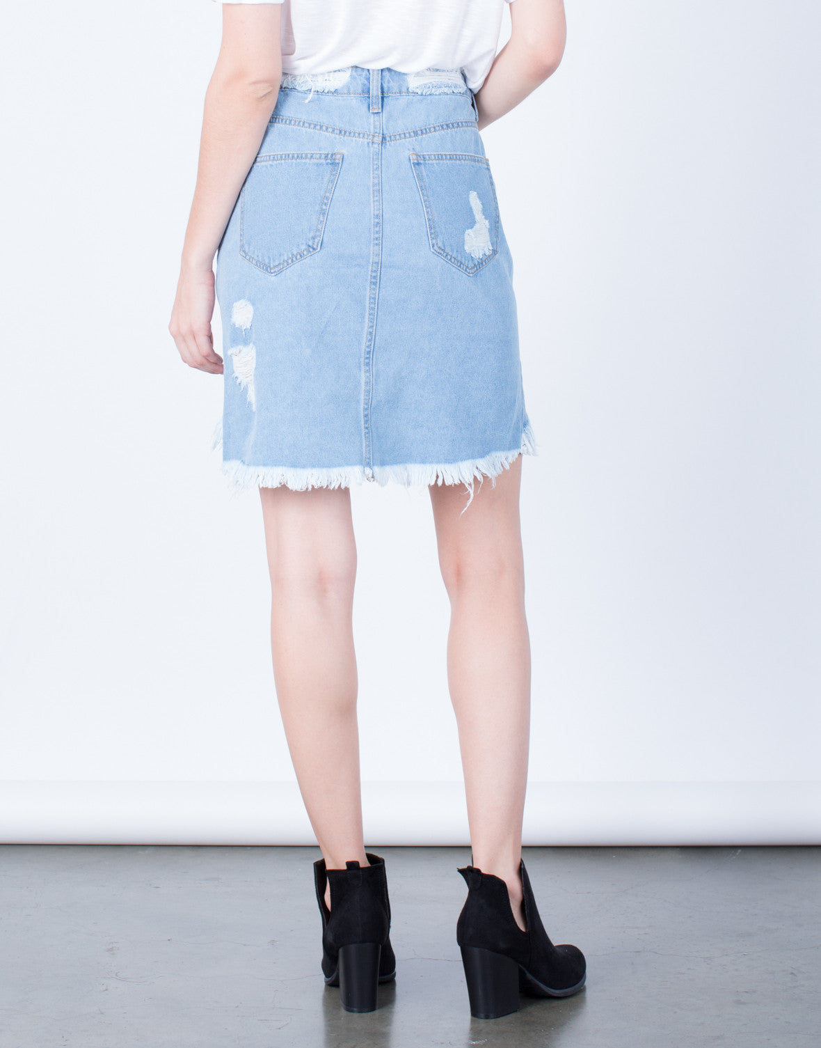 Back View of Destroyed Denim Skirt