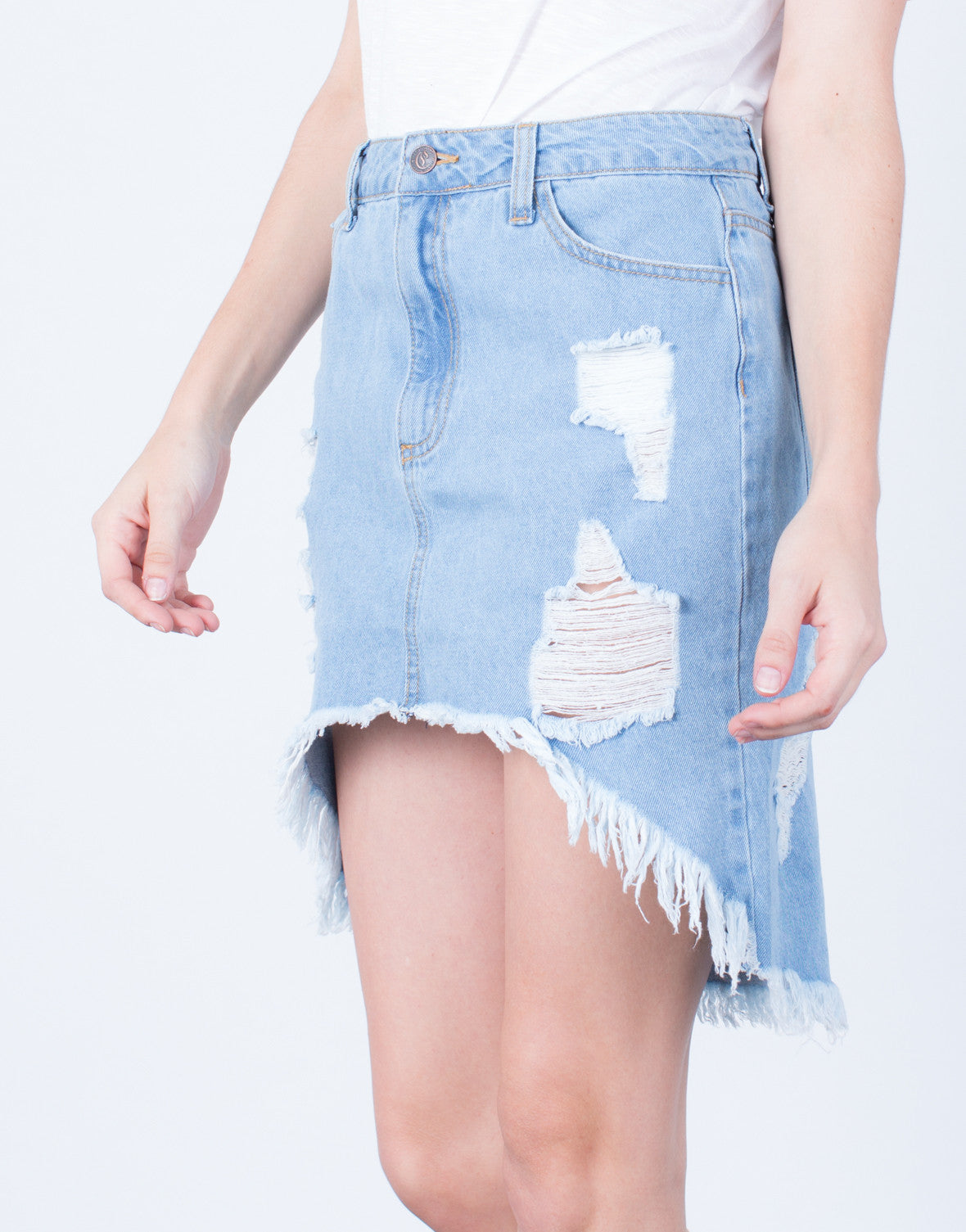 Detail of Destroyed Denim Skirt