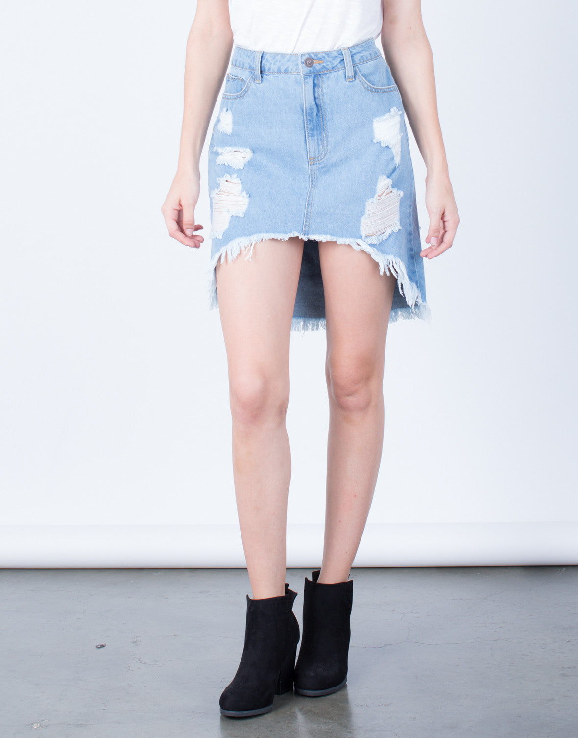 Front View of Destroyed Denim Skirt