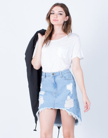 Destroyed Denim Skirt - 2020AVE