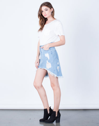 Side View of Destroyed Denim Skirt