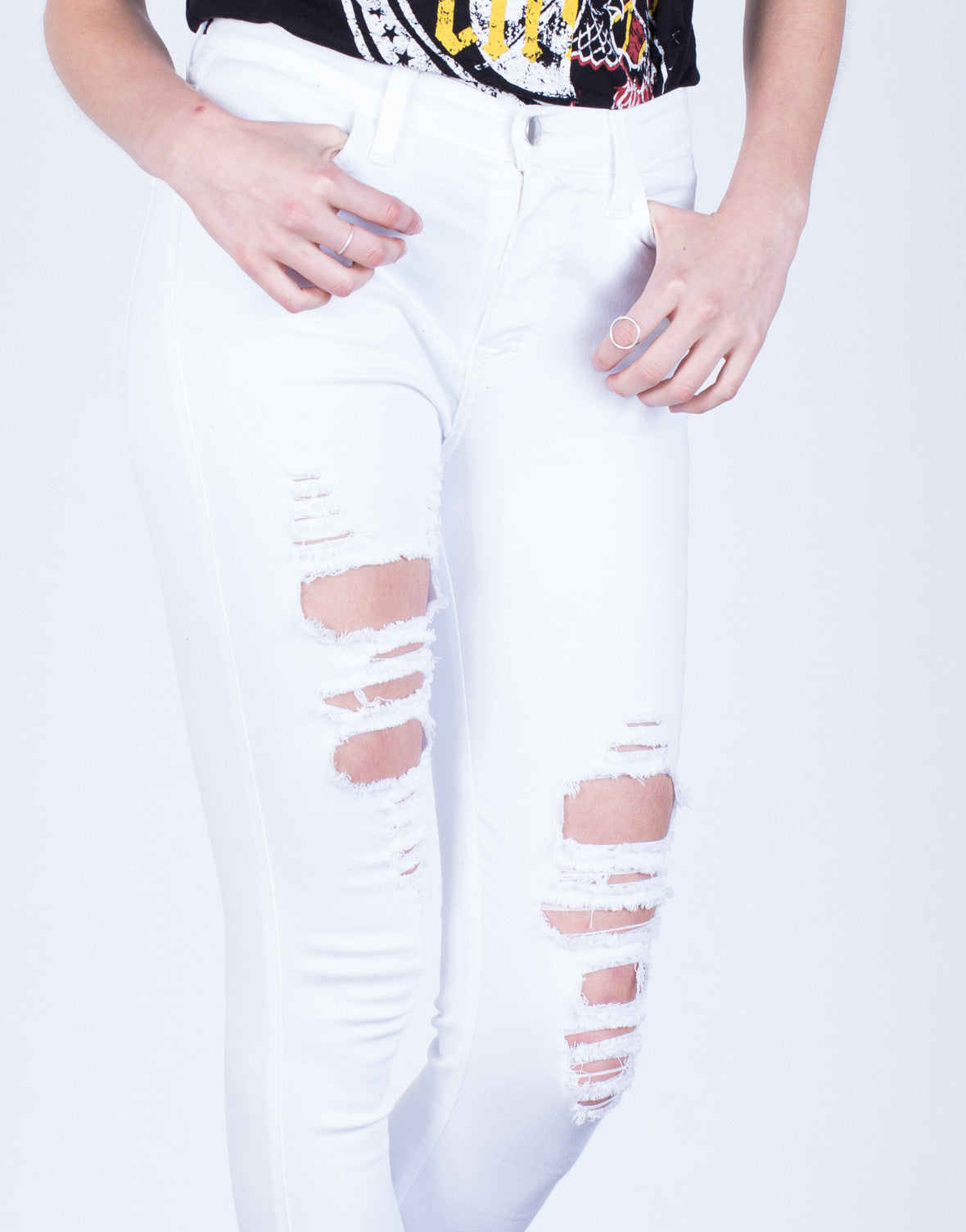 Detail of Destroyed Hem Skinny Jeans