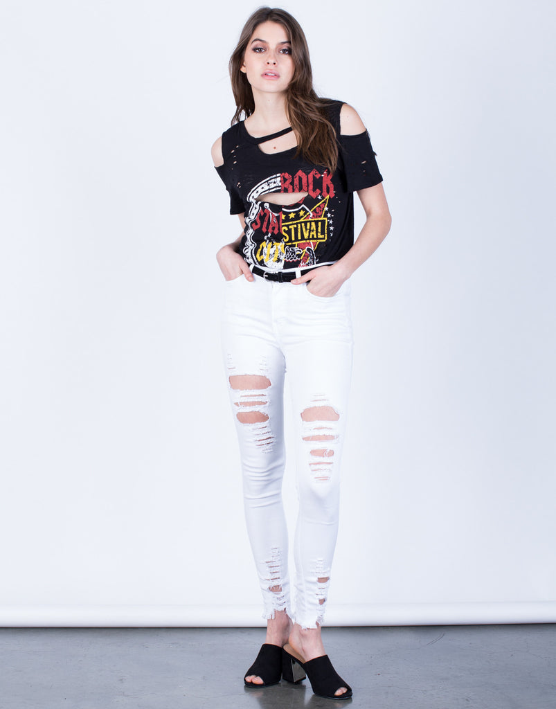 Front View of Destroyed Hem Skinny Jeans