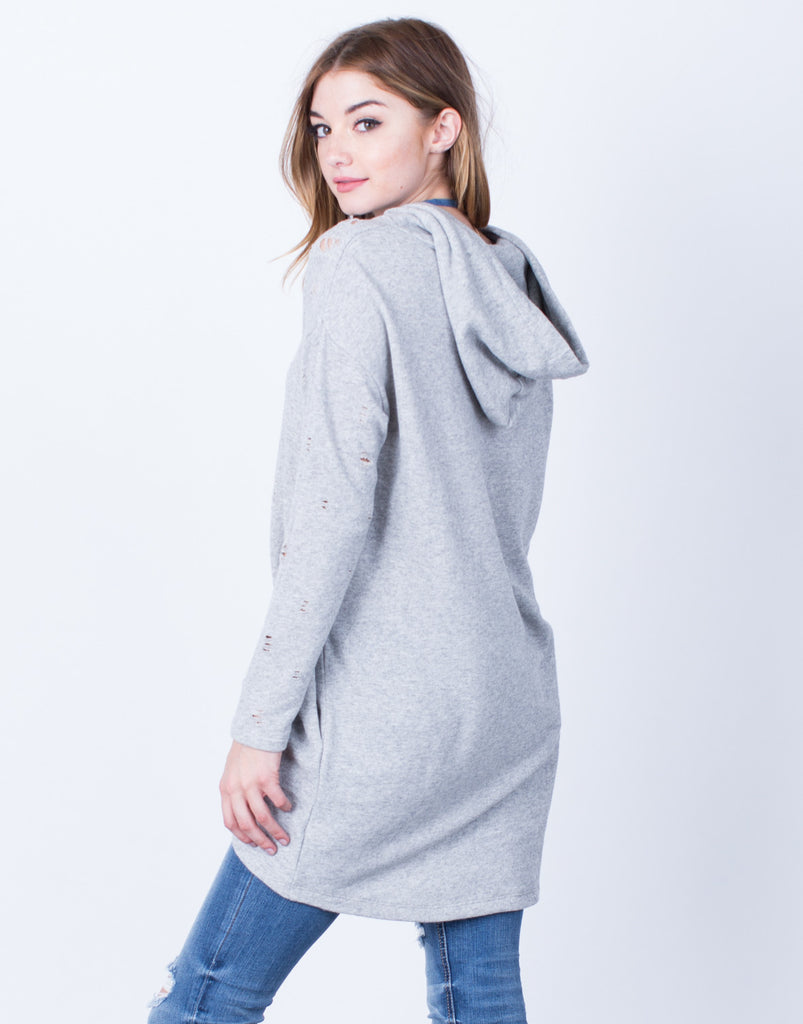 Back View of Destroyed Hoodie Tunic