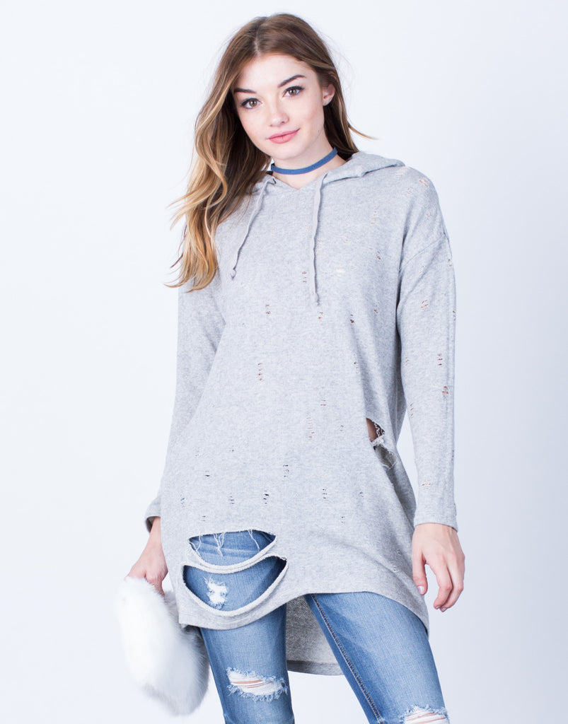 Front View of Destroyed Hoodie Tunic