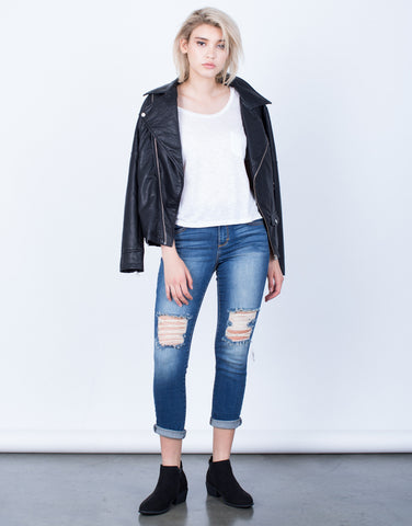 Front View of Destroyed Knees Capri Denim Jeans
