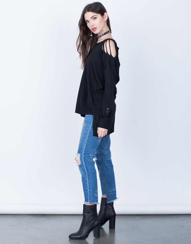 Destroyed Knit Sweater Top - 2020AVE