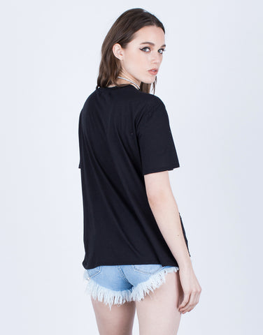 Back View of Destroyed Lace-Up Graphic Tee