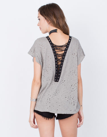 Back View of Destroyed Laced Back Tee
