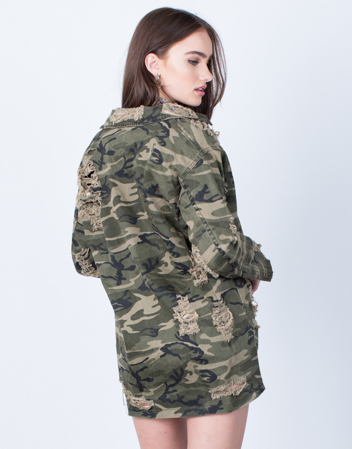 Back View of Destroyed Oversized Camo Jacket