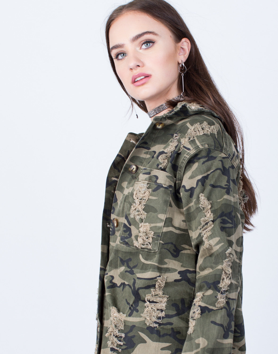 Detail of Destroyed Oversized Camo Jacket