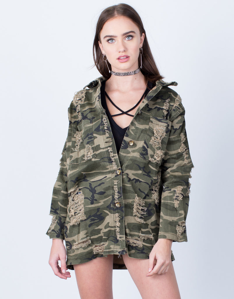 Front View of Destroyed Oversized Camo Jacket