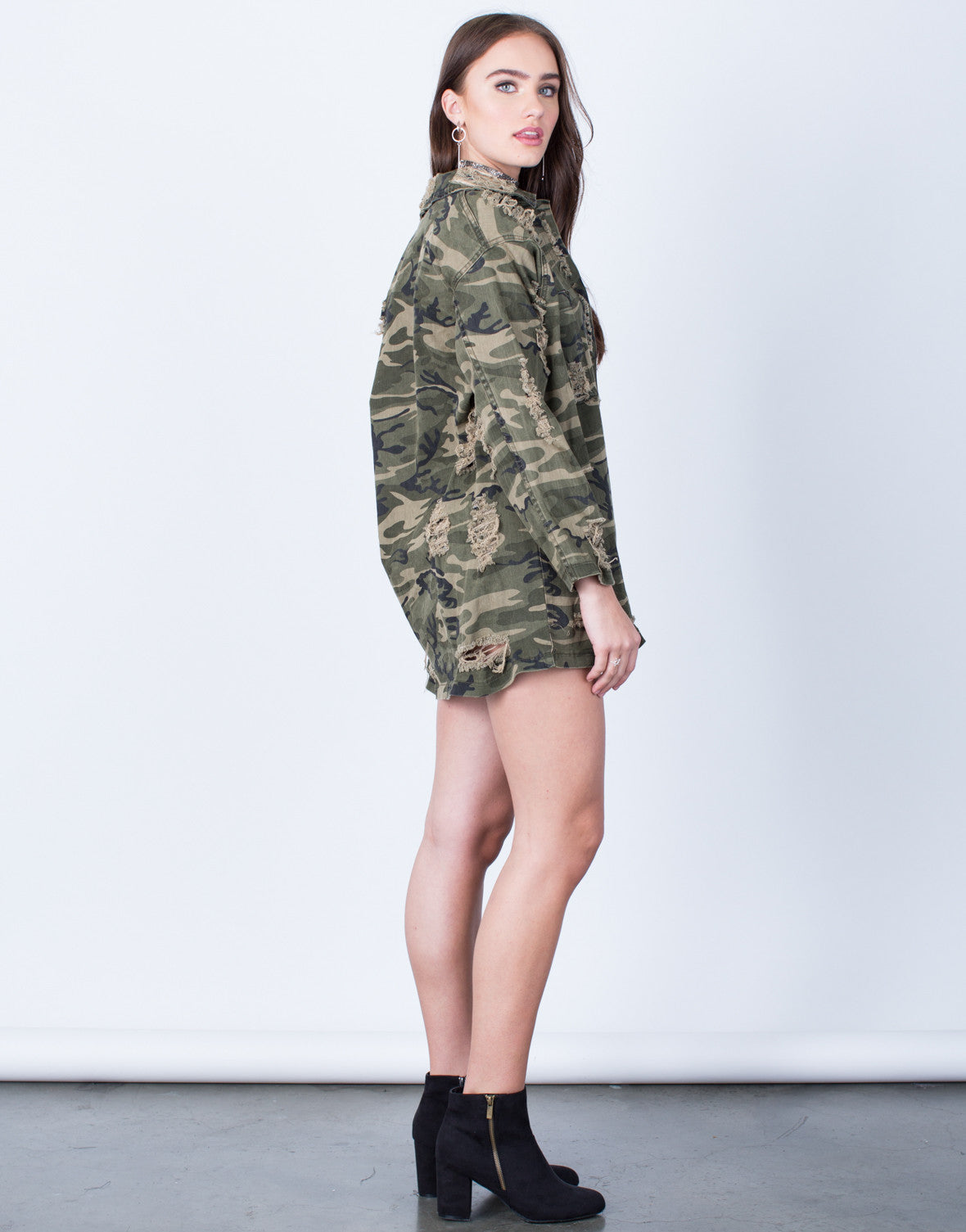 Side View of Destroyed Oversized Camo Jacket