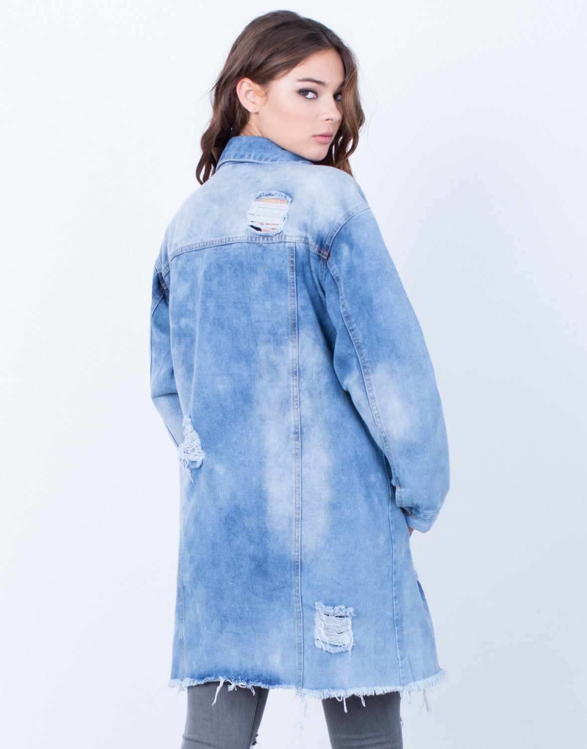Back View of Destroyed Oversized Denim Jacket
