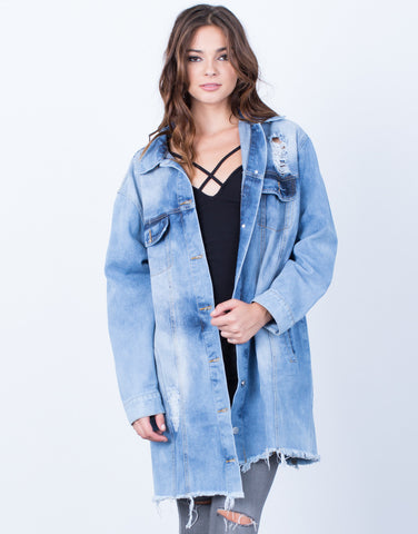 Front View of Destroyed Oversized Denim Jacket