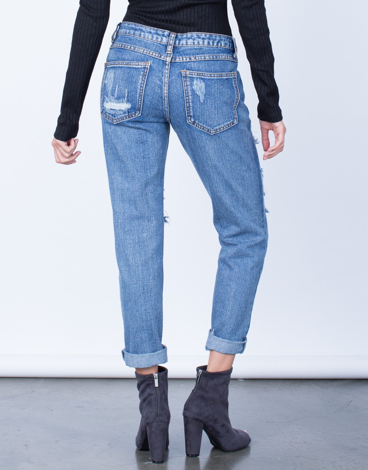 Back View of Destroyed Pocket Boyfriend Jeans