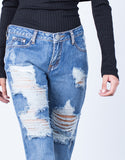 Detail of Destroyed Pocket Boyfriend Jeans