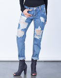Front View of Destroyed Pocket Boyfriend Jeans