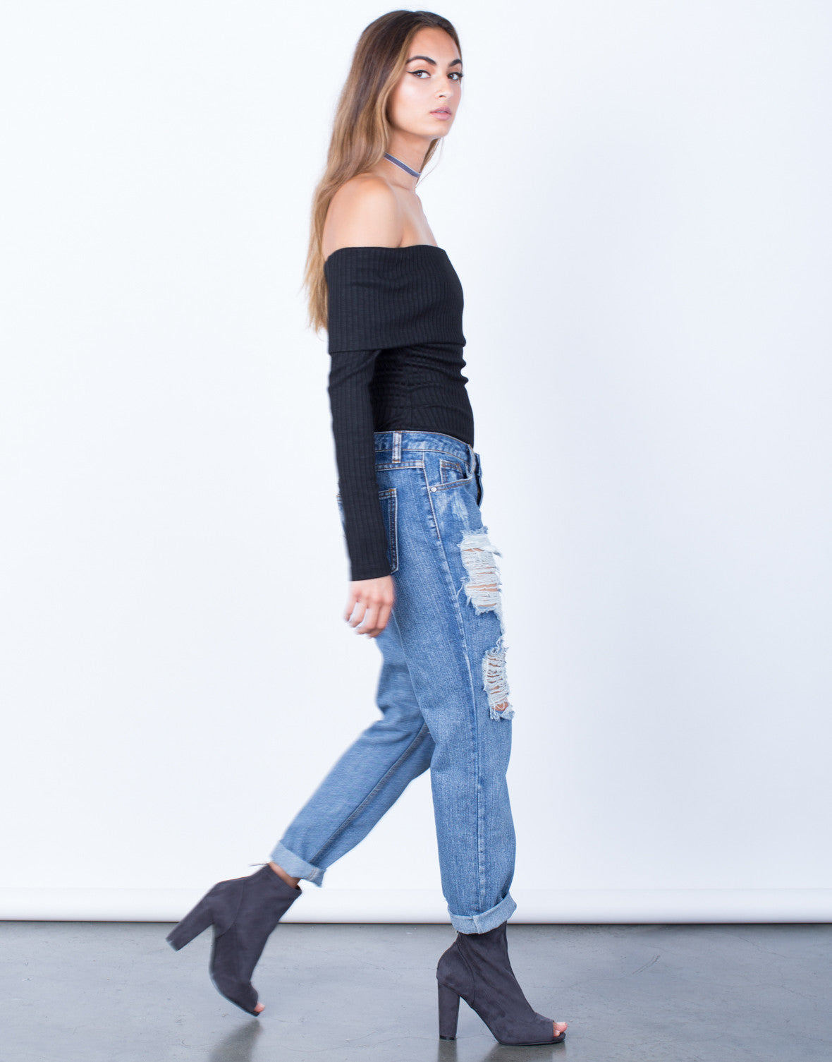 Side View of Destroyed Pocket Boyfriend Jeans