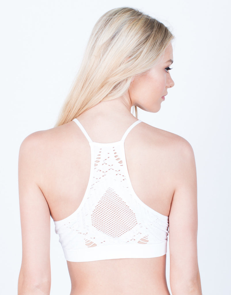 Back View of Destroyed Racerback Bralette