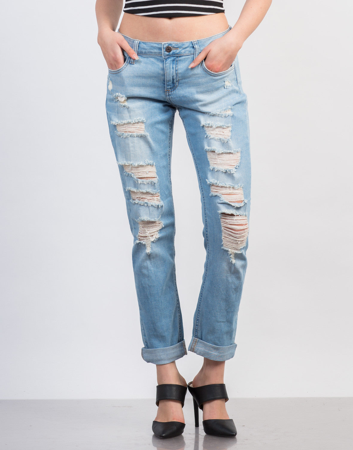 Front View of Destroyed Skinny Boyfriend Jeans