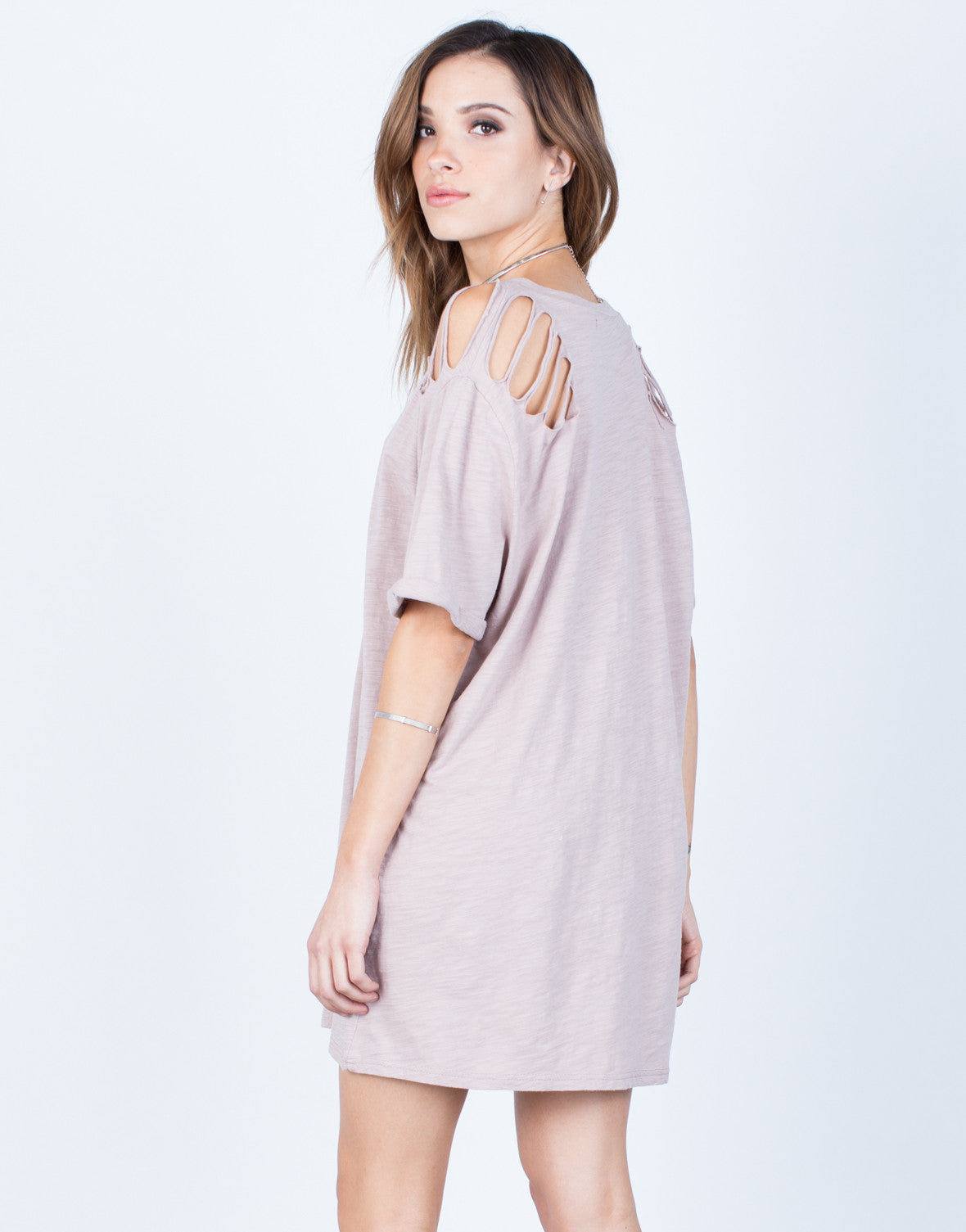 Back View of Destroyed Sleeves Tee Dress