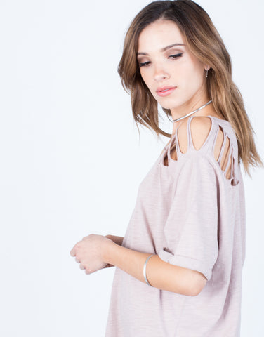 Detail of Destroyed Sleeves Tee Dress