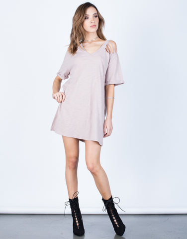 Front View of Destroyed Sleeves Tee Dress