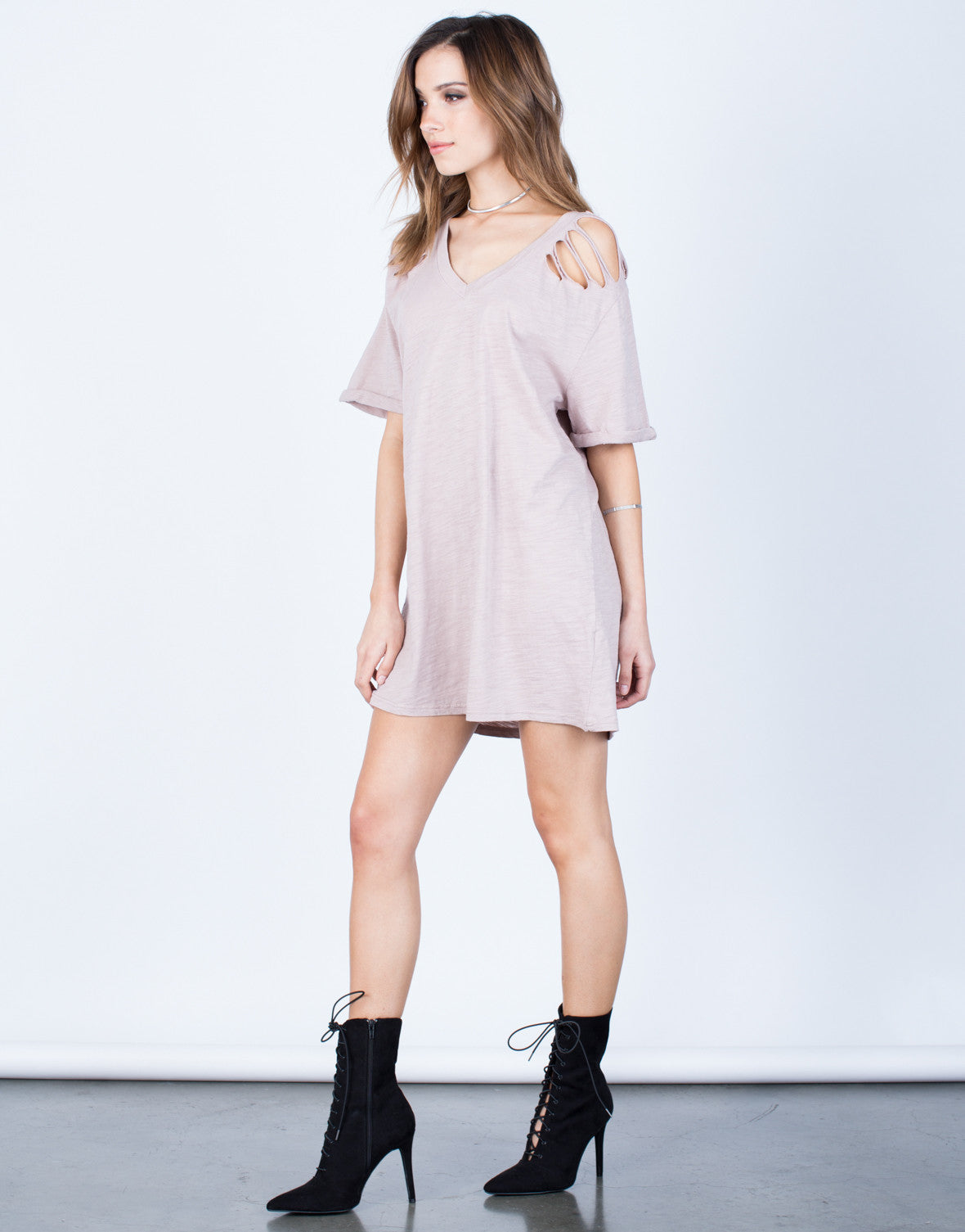 Side View of Destroyed Sleeves Tee Dress