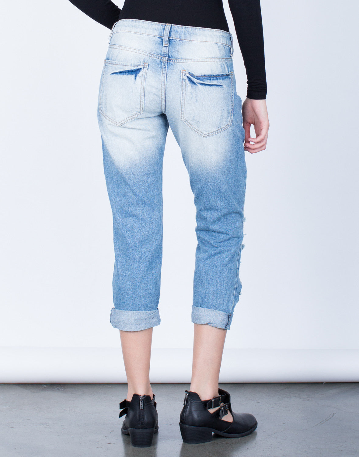 Back View of Destroyed Slim Straight Denim Jeans