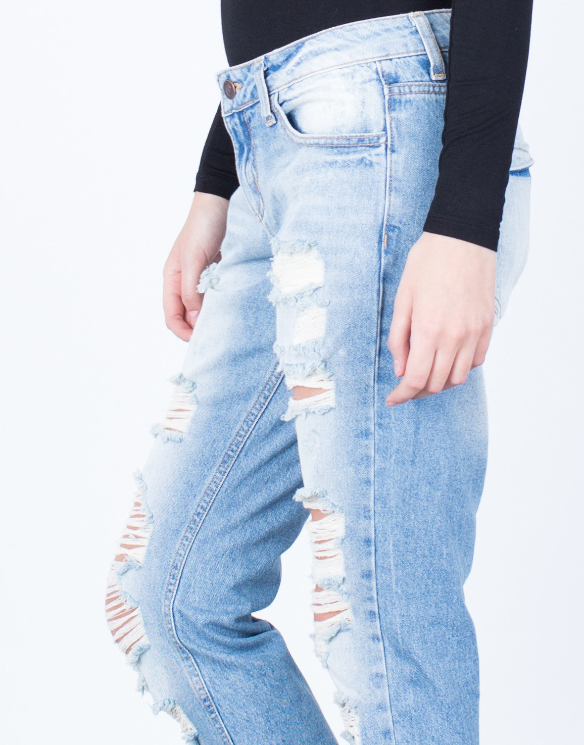 Detail of Destroyed Slim Straight Denim Jeans