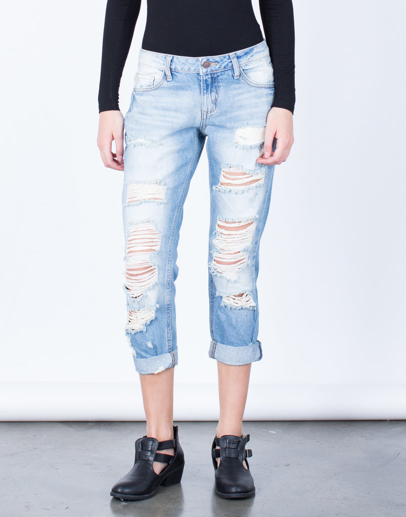 Front View of Destroyed Slim Straight Denim Jeans