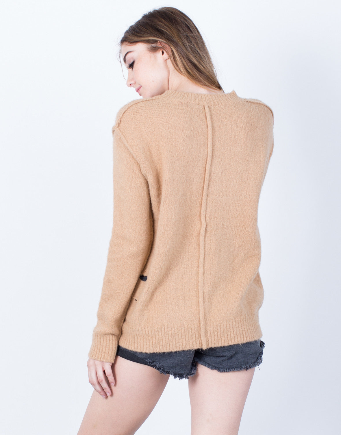 Back View of Destroyed Soft Sweater