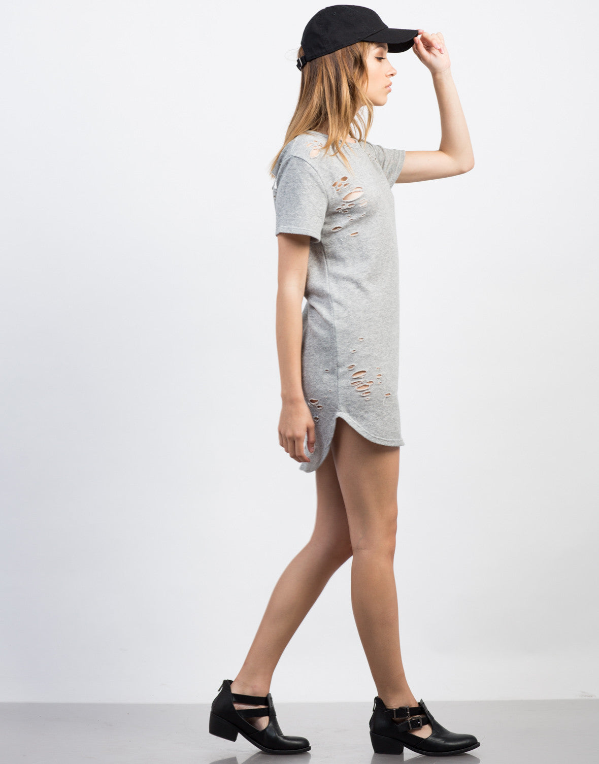 Side View of Destroyed Tee Dress