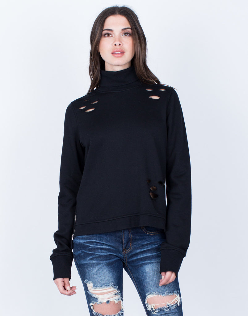 Front View of Destroyed Turtleneck Sweater