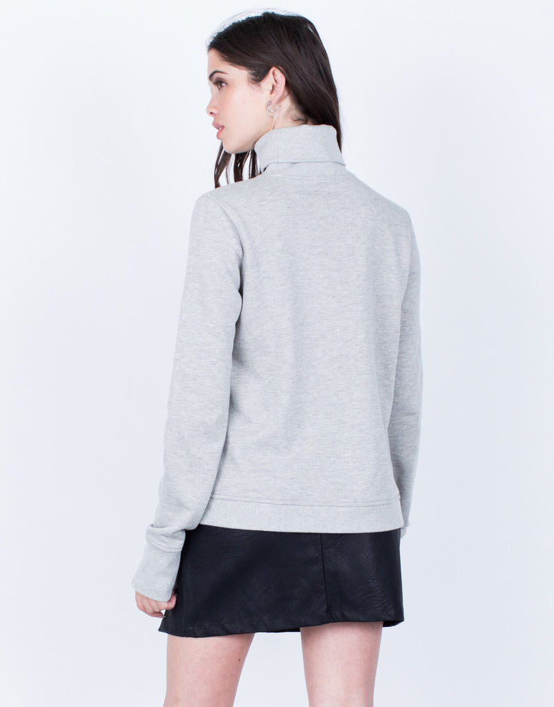 Back View of Destroyed Turtleneck Sweater
