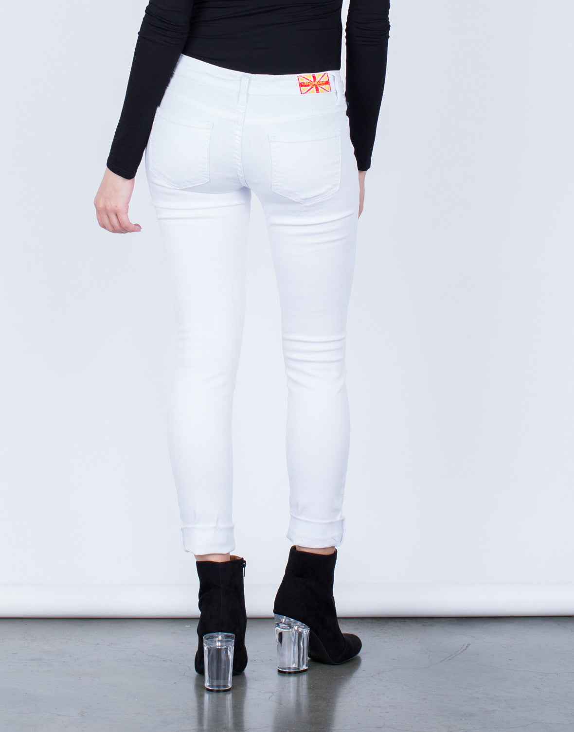 Back View of Destroyed White Skinny Jeans