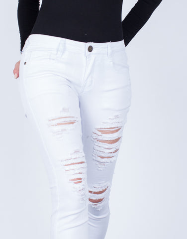 Detail of Destroyed White Skinny Jeans