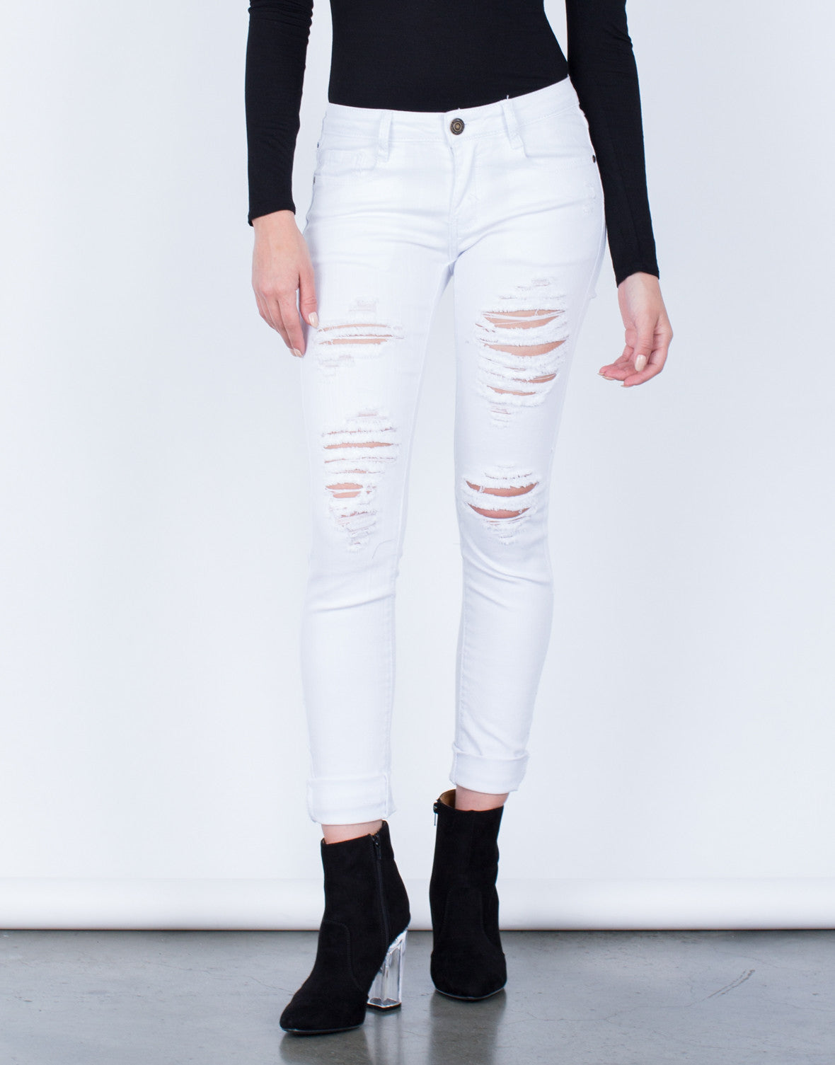 Front View of Destroyed White Skinny Jeans