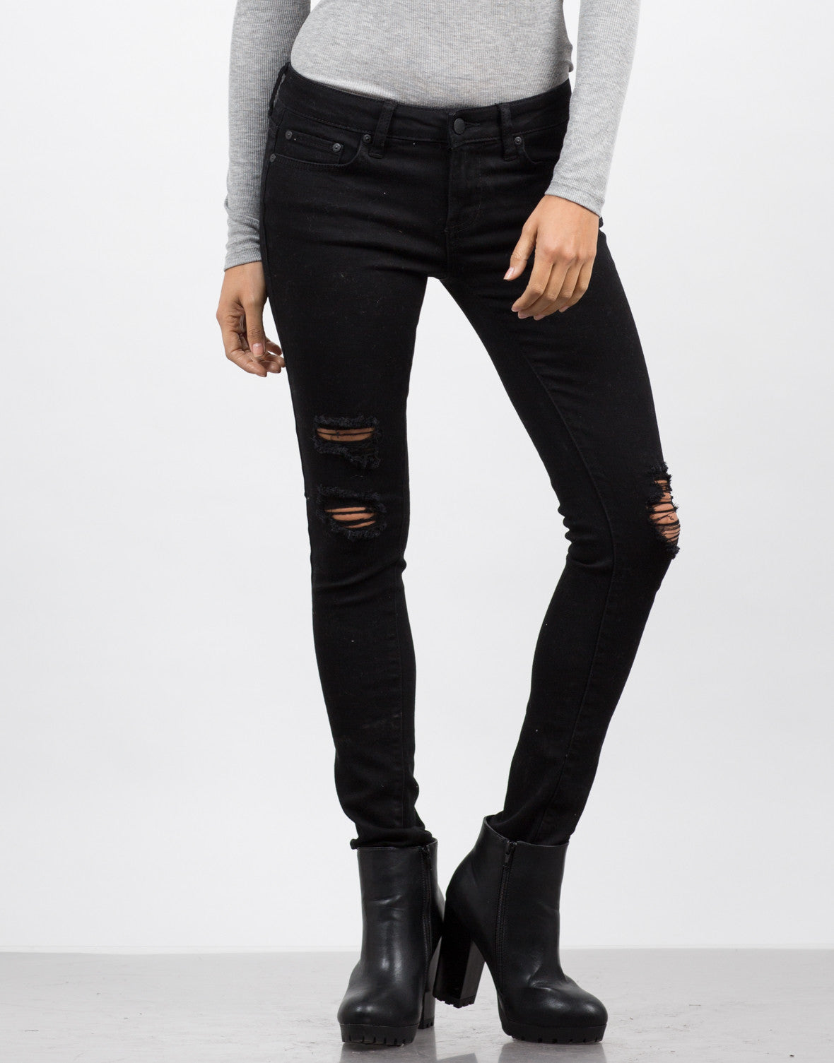 Front View of Destroyed Black Skinny Jeans