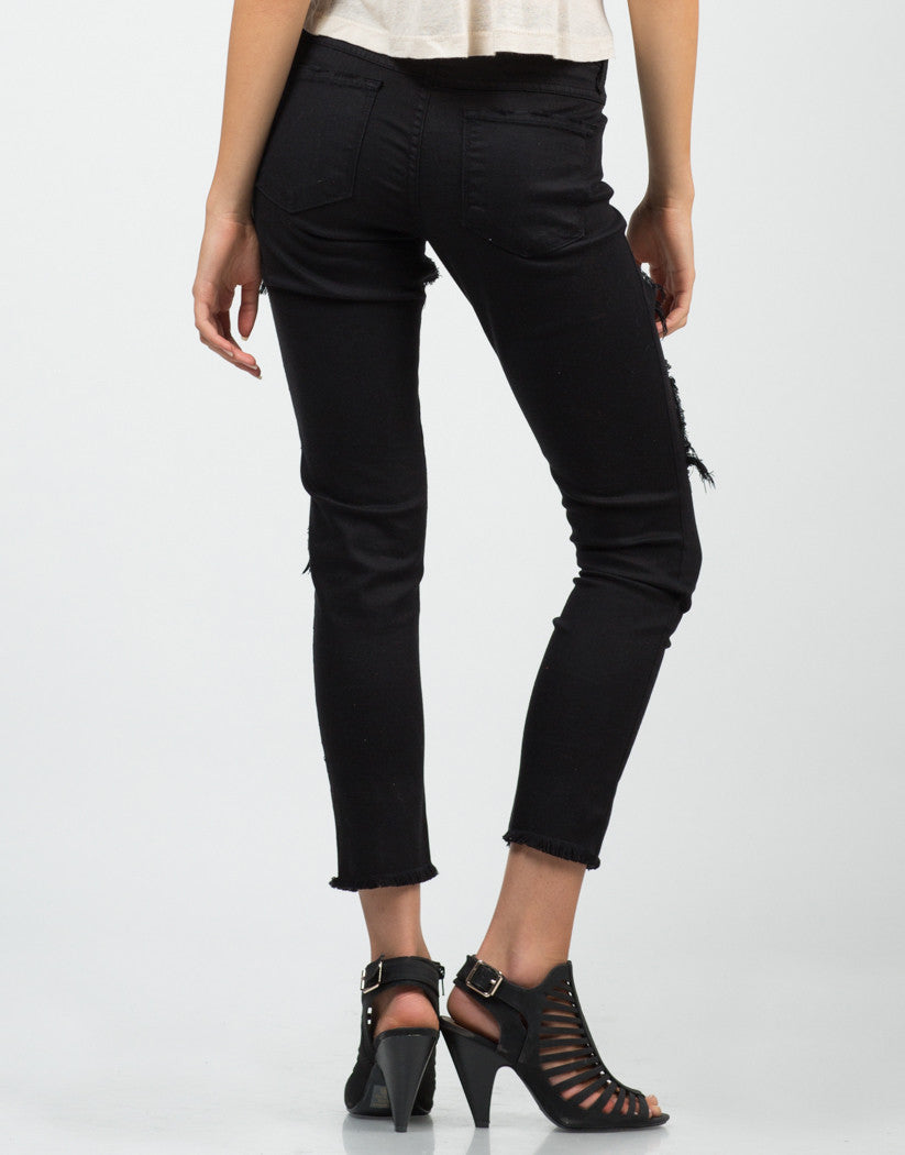 Back View of Destroyed Cropped Skinny Jeans