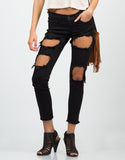 Front View of Destroyed Cropped Skinny Jeans