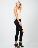 Side View of Destroyed Cropped Skinny Jeans