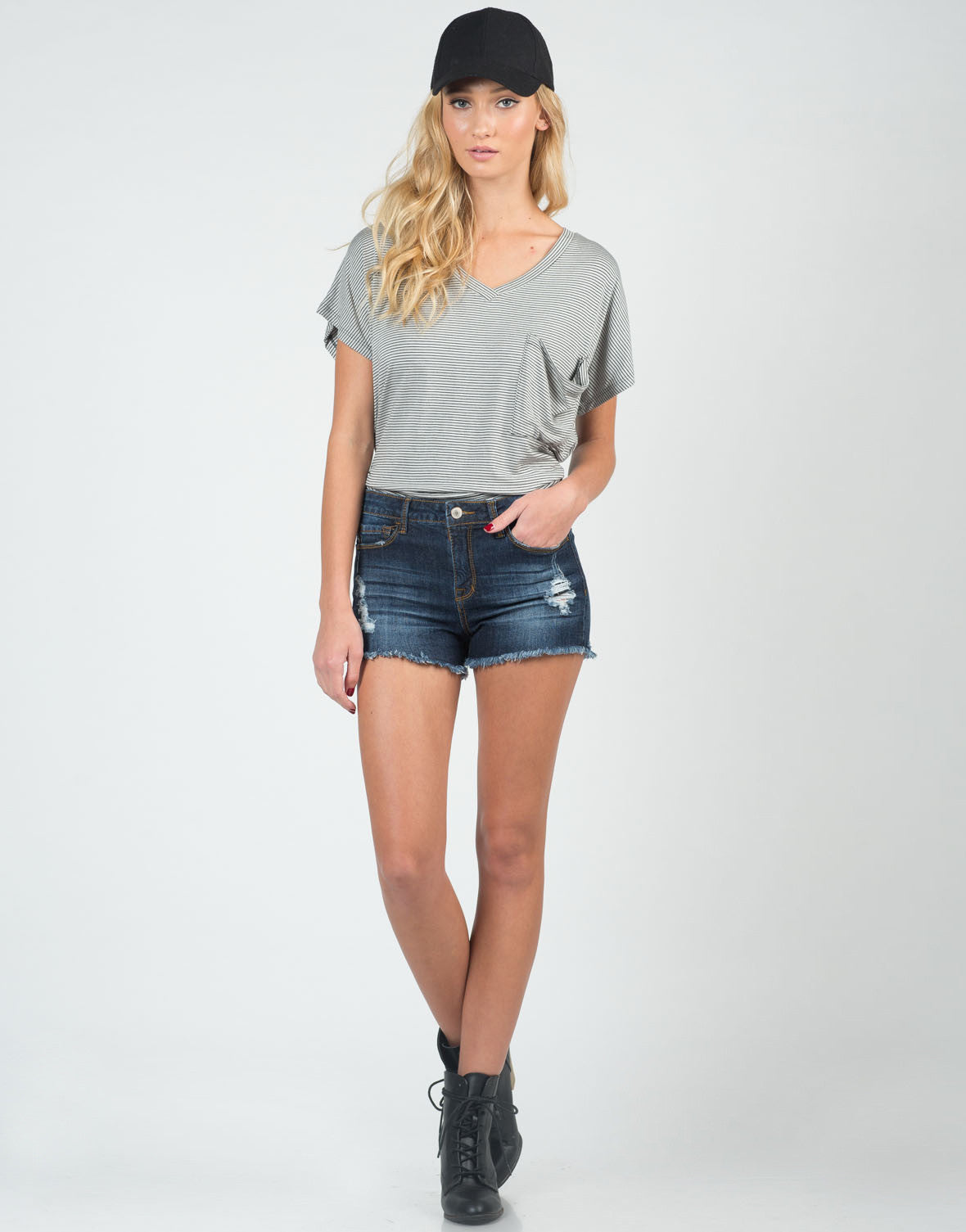 Front View of Destroyed Cutoff High Waisted Shorts