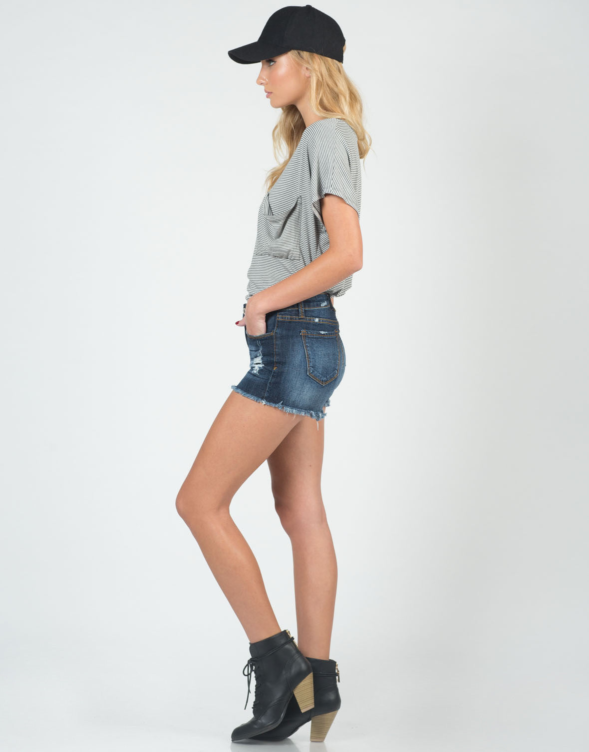 Side View of Destroyed Cutoff High Waisted Shorts