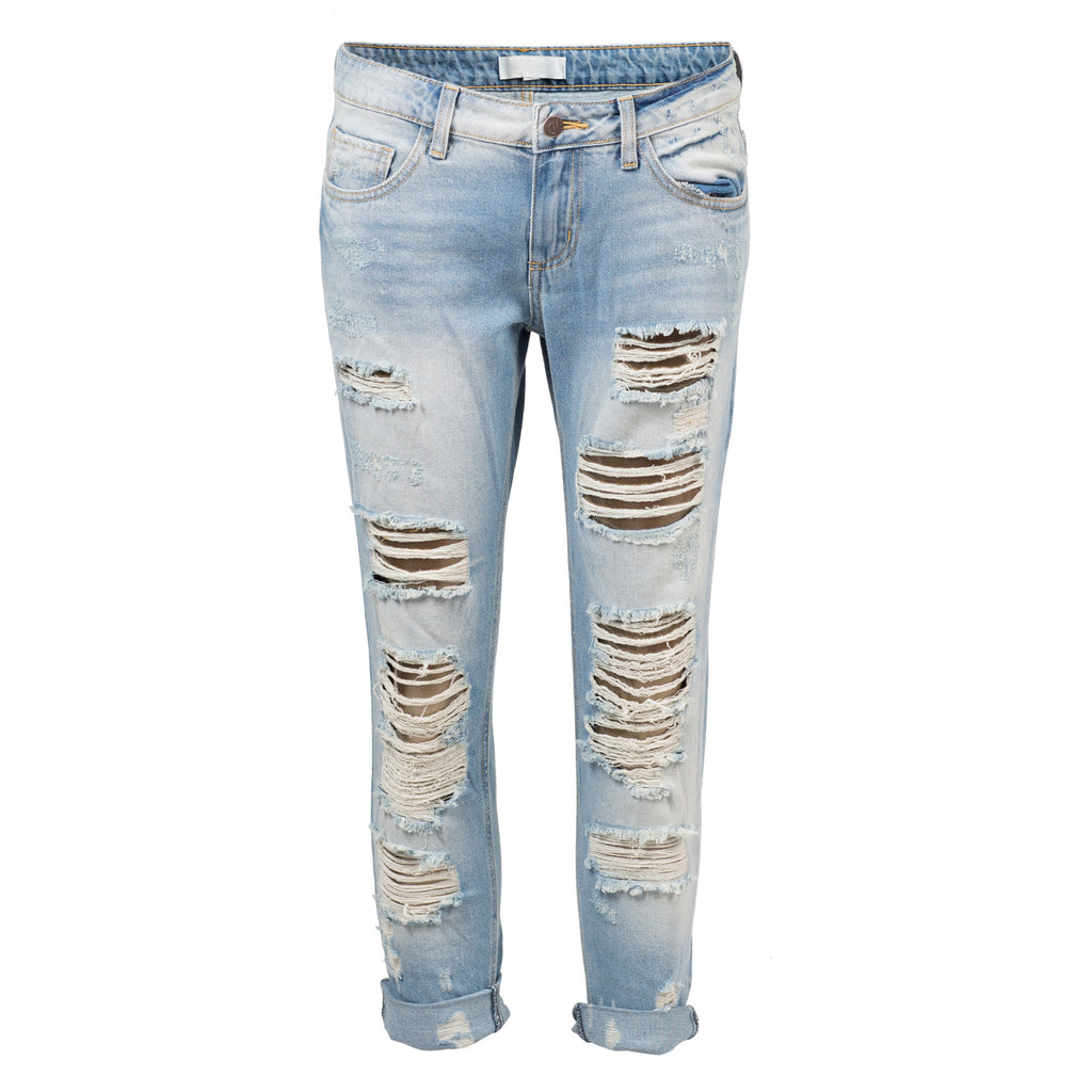 Destroyed Slim Straight Denim Jeans - 2020AVE