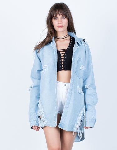 Front View of Deuces Denim Jacket
